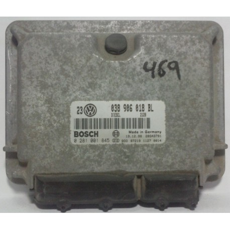 Calculateur moteur pour Audi A3 1L9 TDI / VW Golf 4 / Bora 1L9 TDI ref 038906018BL / 038906018GS / Ref Bosch 0281001845