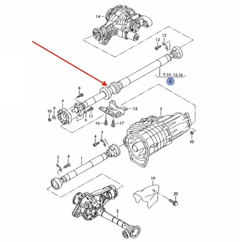 driveshaft carrier center support bearing kit vw touareg