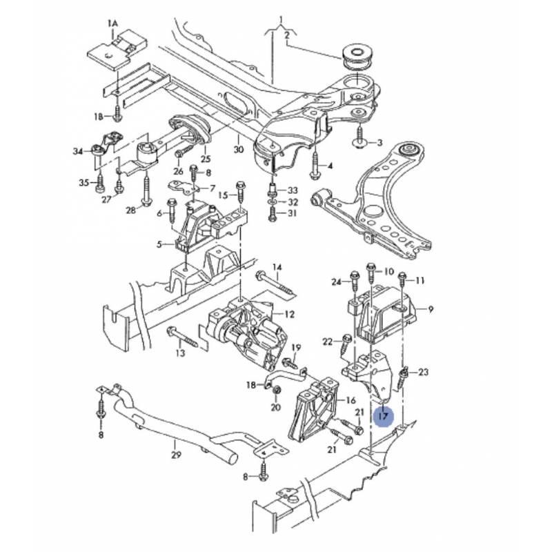 support moteur  console  appui ref 1j0199117ak