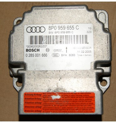 Calculateur d'airbag Audi A3 8P ref 8P0959655C Bosch 0285001666