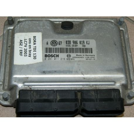 Engine control / unit ecu motor VW / Skoda / Seat 1L9 TDI 130  ASZ ref 038906019KJ / ref Bosch 0281011216 / 0 281 011 216