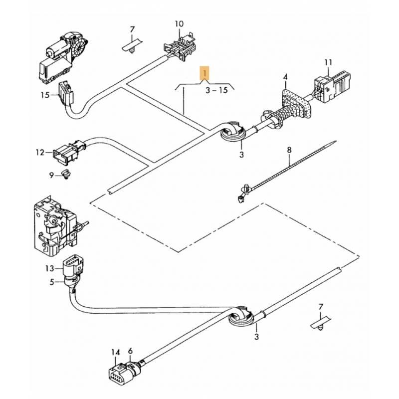 faisceau de cables garniture de porte avant conducteur audi a3 8p 3 portes ref 8p3971029
