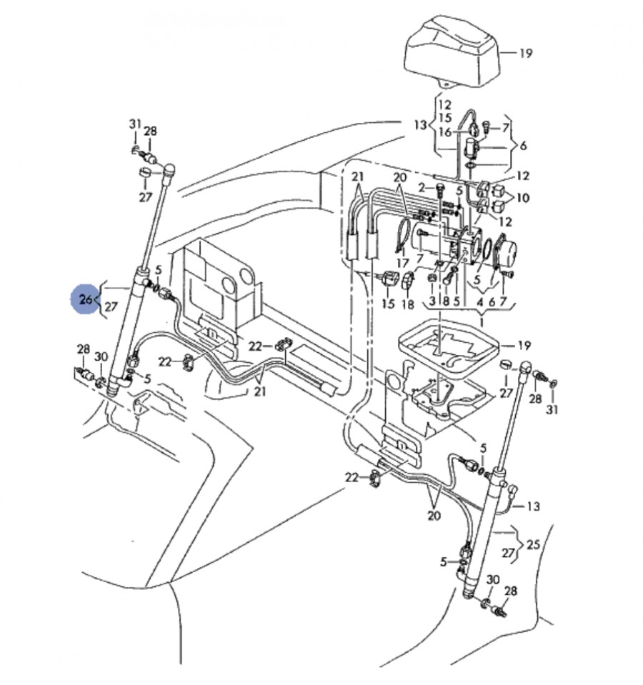 Hydraulic Jack Of Hood Passenger Side For Audi Tt Cabriolet Ref Diagram 8n7871796