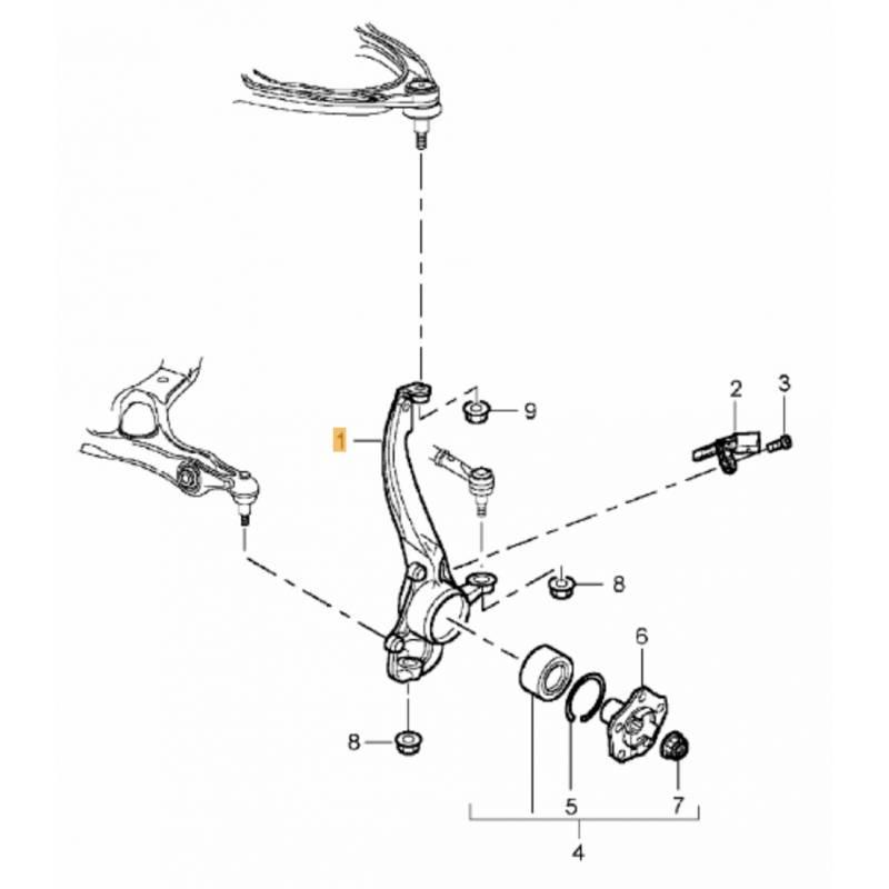pivot de fus u00e9e avant conducteur   roulement pour porsche cayenne ref 95534115510  95534190100